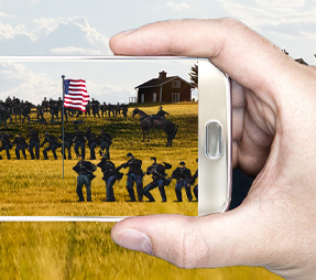 screen shot from the new reality app being developed for American Battlefield Trust